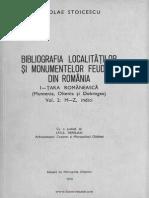 Bibliografia localitatilor si monumentelor feudale din Romania