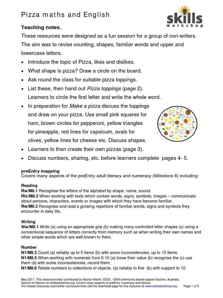 Pizza Maths English Learning Semiotics