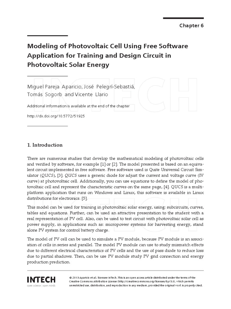 Solar Cell Circuit Modeling Of Photovoltaic Using Free Software Application For Training And Design In Energy Photovoltaics