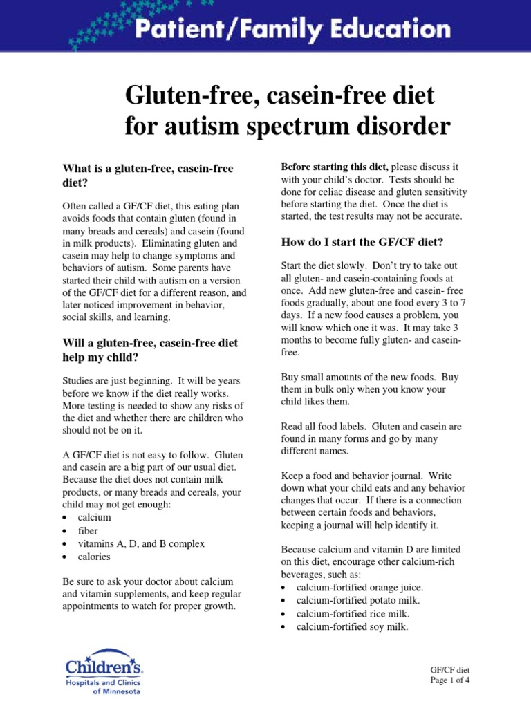 gluten and casin free diet for asd