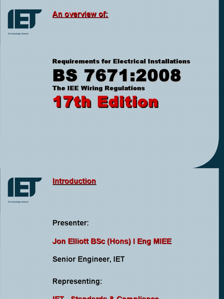 17th Edition Overviewppt Electrical Wiring Components British Standard Bs 7671 Requirements For Installations
