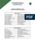 PROCESO de ASIMILACIÓN 2015. Pregrados en Las Siguientes Especialidades