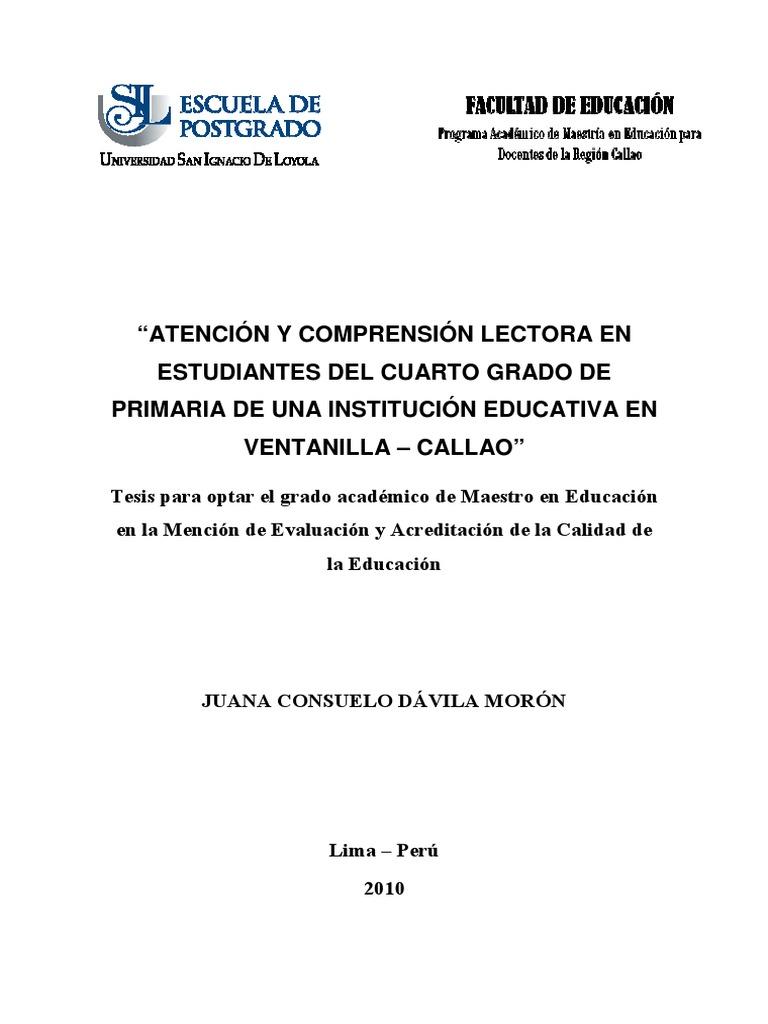 2010 Dávila Atención y Comprensión Lectora en Estudiantes de ...