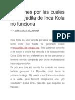 5 Razones Por Las Cuales La Moradita de Inca Kola No Funciona