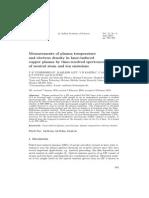 Measurement of Plasma Temperature Journal of Physics