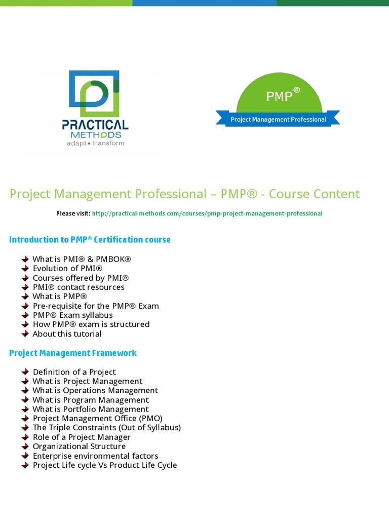 Pmi Pmp Project Management Professional Course Content Practical