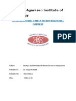 Organizational Ethics in International Context
