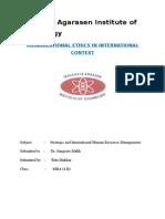 Organizational Ethics in International Context