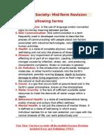 Health & Society- Mid-Term Revision
