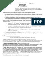 romeo juliet final project guidelines