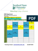 OSM Spring 2015 Tutoring Schedule