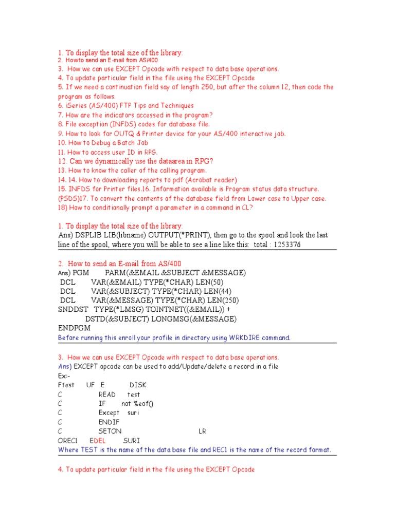 AS400 Tips1 | File Transfer Protocol | Ibm System I
