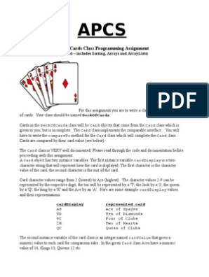 APCS Deck of Cards Programming Assignment   Playing Cards