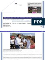 22-02-2015 INSCRIBEN A NERIO TORRES ARCILA PARA LA ALCALDÍA DE MÉRIDA