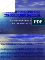 Cost of Handling and Transporting Material