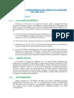Plan Operativo y Presupuesto Del Banco de La Nación Del Año 2014