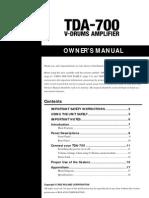 Roland TDA-700 Owner's Manual