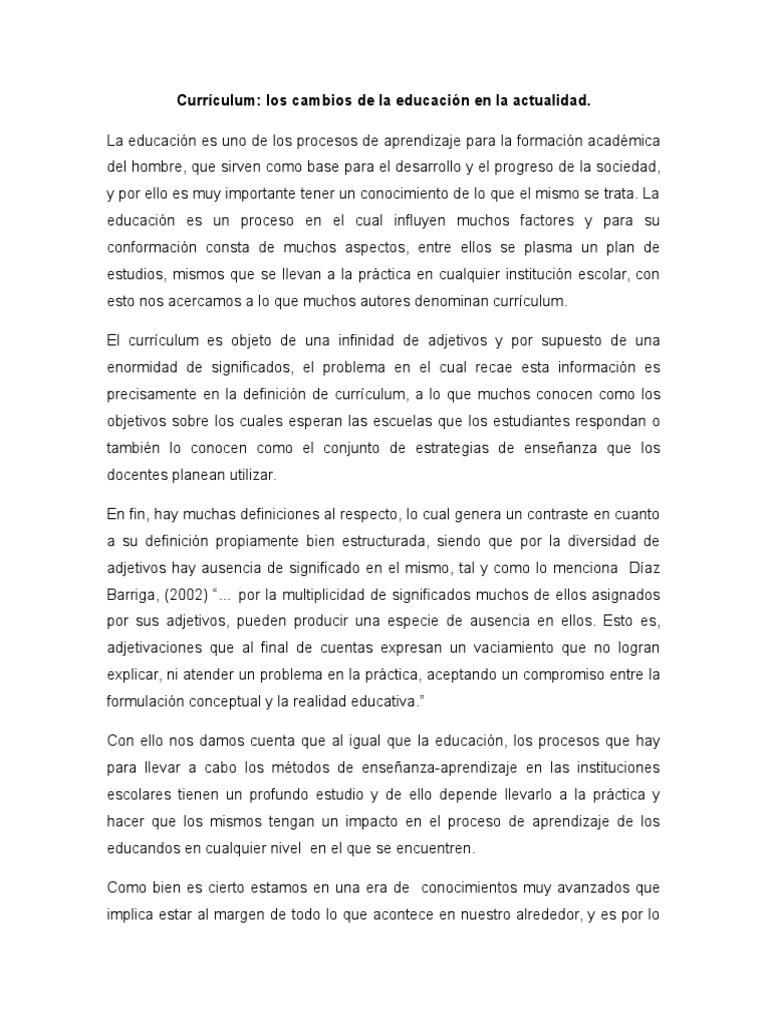 Ensayo: Curriculum