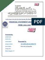 Financial Statement Analysis FWBL