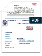 Financial Statement Analysis FWBL