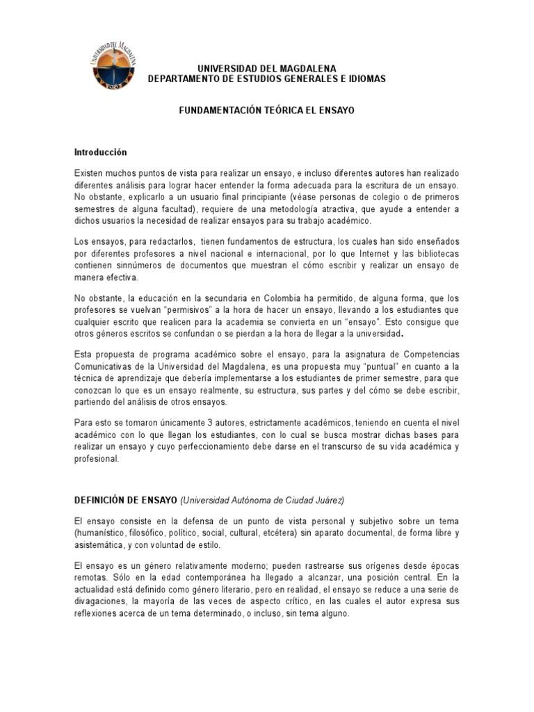 Fundamentacion teorica - Ensayo