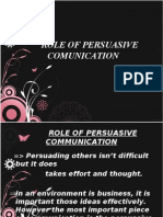 Role of Persuasive Comunication