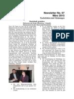 März 2015 (Newsletter Nr. 67)