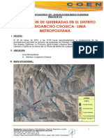 Informe preliminar Indeci huaico Chosica