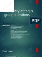 Summary of Focus Group Questions
