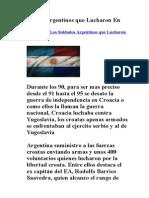 Soldados Argentinos Que Lucharon en Croacia