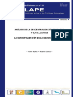 Cuenca, R. Analisis de La Decentralizaicion Educativa