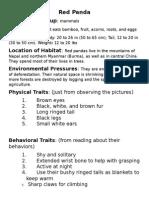 red panda traits page
