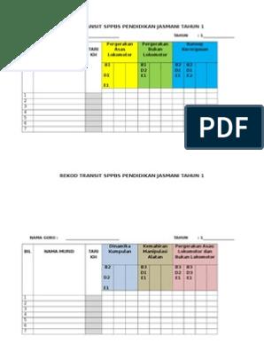 Rekod Transit Pbs Pendidikan Jasmani T1