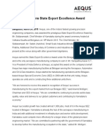 Aequs State Export Excelllence Award