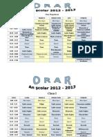 ORAR - 2012-2013