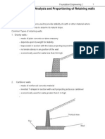 Analysis and Proportioning of Retaining Walls