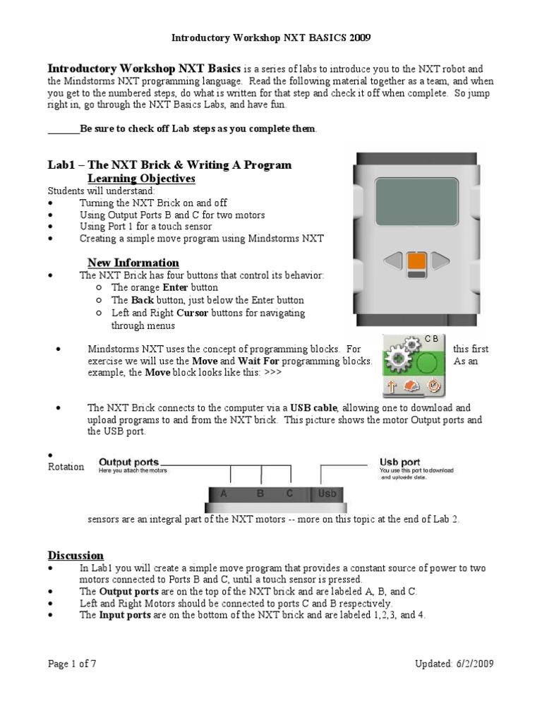 Intro Workshop Nxt | Software | Computing