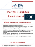 Parent information about the Exhibition 2015