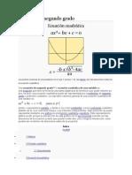 Ecuación de Segundo Grado