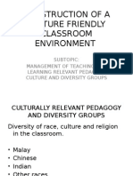 Construction of a Culture Friendly Classroom Environment