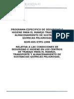 Programa Especifico de Seguridad e Higiene Para El Manejo Trasporte y Almacenamiento de Sustancias Químicas Peligrosas
