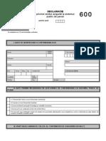 Declaratia ANAF - Formular 600 (PFA)