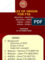 rules of origin for fta