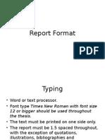 Report Format mass