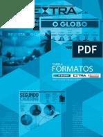 Tabela de formatos gráficos do Jornal Extra e  o Globo