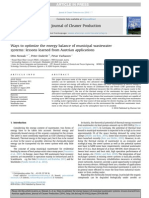 Ways to Optimize the Energy Balance of Municipal Wastewater(Energía)