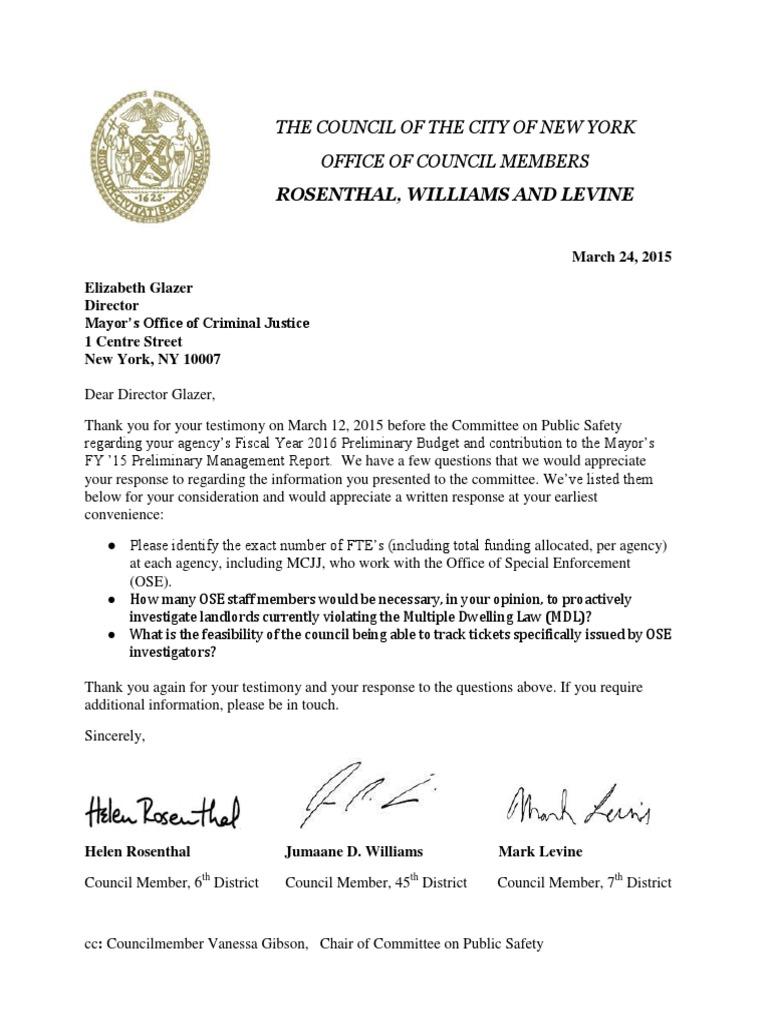 letter to the mayor's office of criminal justice mocj