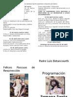 Programacion Semana Santa Sagrado Corazon de Maria