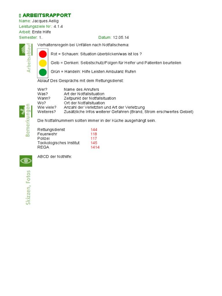 Erste Hilfe Arbeitsrapport