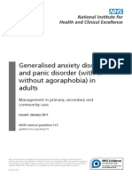Generalised Anxiety Disorder and Panic Disorder Adults NICE guidelines